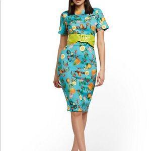 New York & Company Fruit-Print Midi Sheath Dress